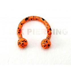 Piercing anneau fer à cheval tacheté orange