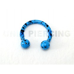 Piercing anneau fer à cheval tacheté bleu