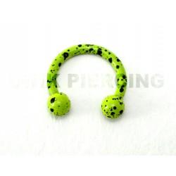 Piercing anneau fer à cheval tacheté vert clair