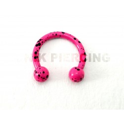 Piercing anneau fer à cheval tacheté fushia