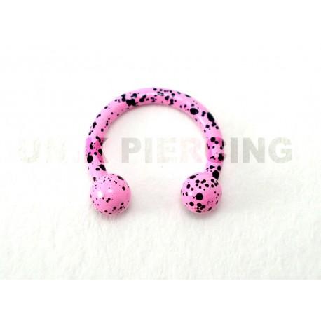 Piercing anneau fer à cheval tacheté rose clair