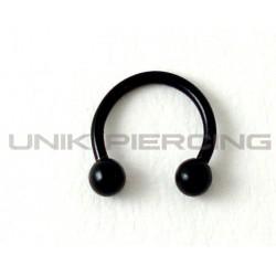 Piercing anneau fer à cheval acier noir 1.2mm