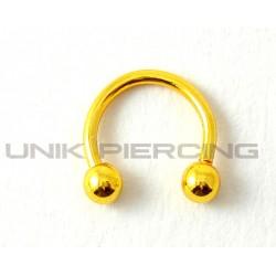 Piercing anneau fer à cheval  plaqué or 1.2 mm