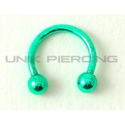 Piercing anneau fer à cheval vert 1.2 mm