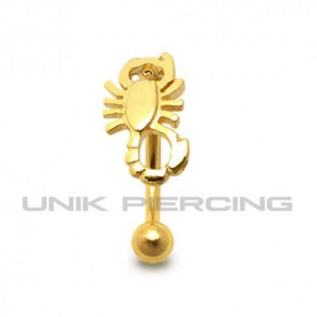 Piercing arcade Scorpion plaqué or