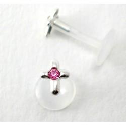 Piercing labret/madona croix rose