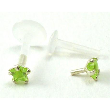 Piercing labret/madona étoile verte