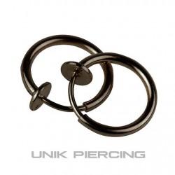Faux piercing  anneaux  à clip 10mm black