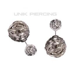 Boucles D'oreilles Boule Double métal croisé