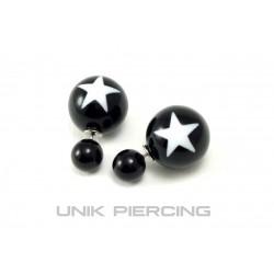Boucles D'oreilles Boule Double étoile noire