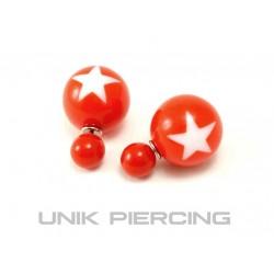 Boucles D'oreilles Boule Double étoile rouge