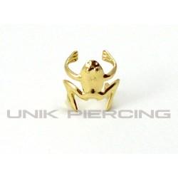 Faux piercing Hélix clip grenouille doré