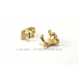 Faux piercing Clip griffe doré
