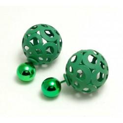 Boucles D'oreilles Boule métal vert