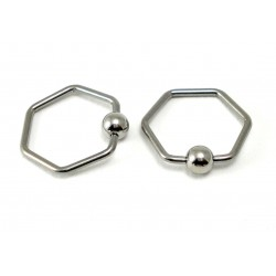 Piercing anneau hexagone clip