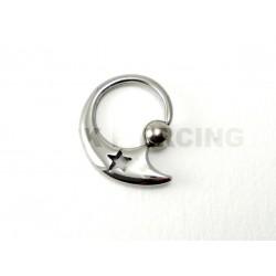 Piercing anneau clip  étoile acier
